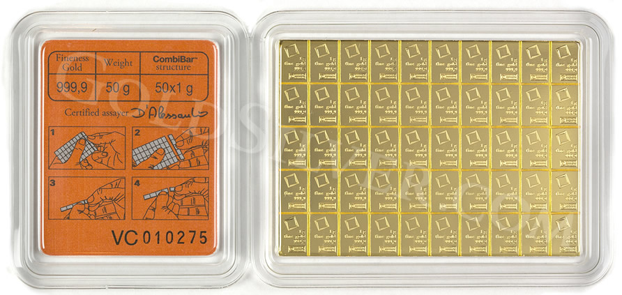 New Breakable Gold Bar Valcambi Suisse Gold Combibar 50