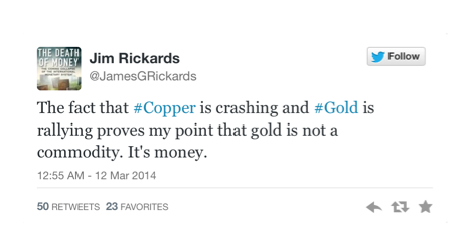 Tweet from Jim Rickards