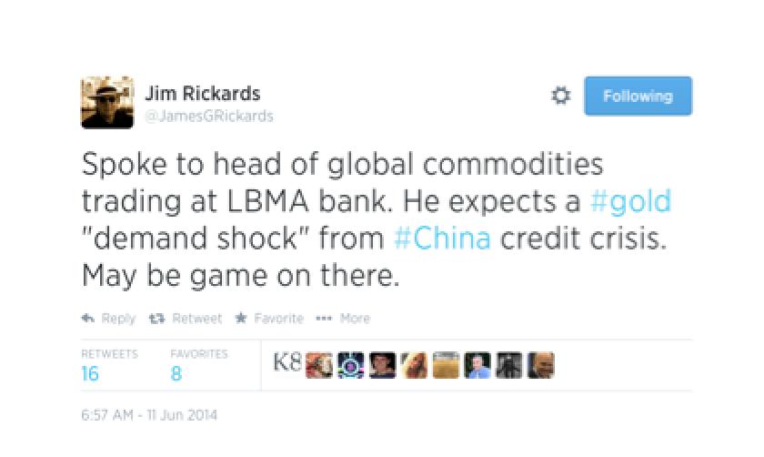Tweet from Jim Rickards - Gold