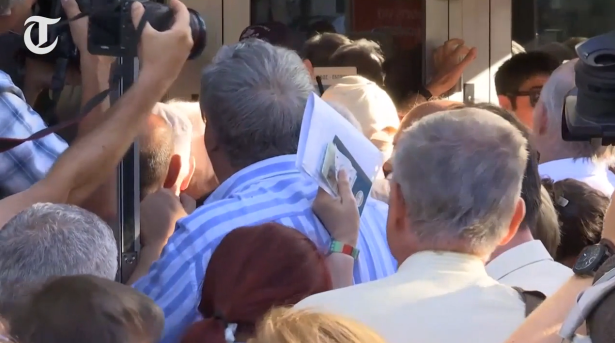 Greek Banks Reopen - Chaotic Scenes As People Rush to Withdraw Pensions
