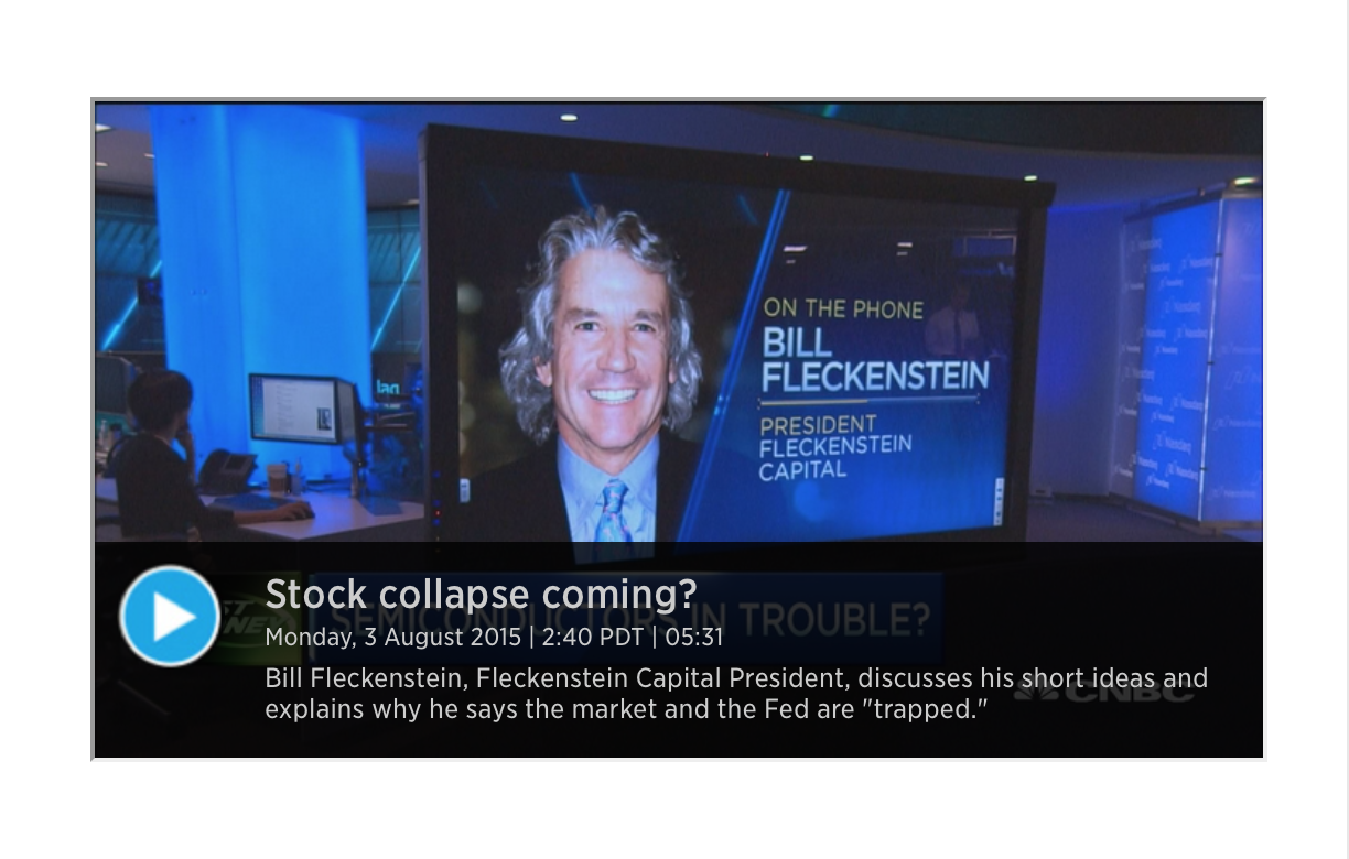 The Fed, Stocks Are Trapped and Set For a Crash  - Bill Fleckenstein