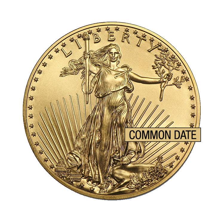 goldsilver.com - 1 oz American Gold Eagle Coin (Common Date) Front