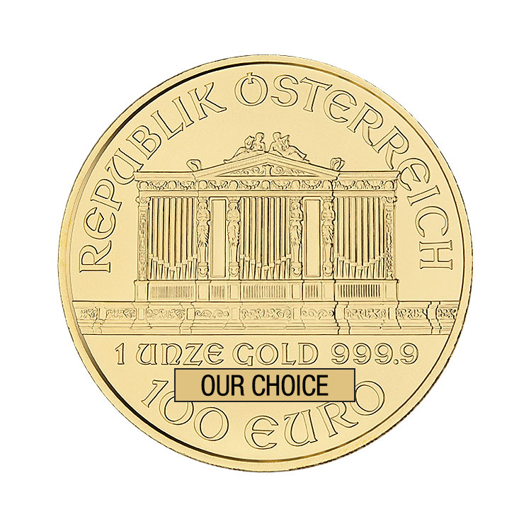 goldsilver.com - 1 oz Austrian Philharmonic Gold Coin (Our Choice) Back