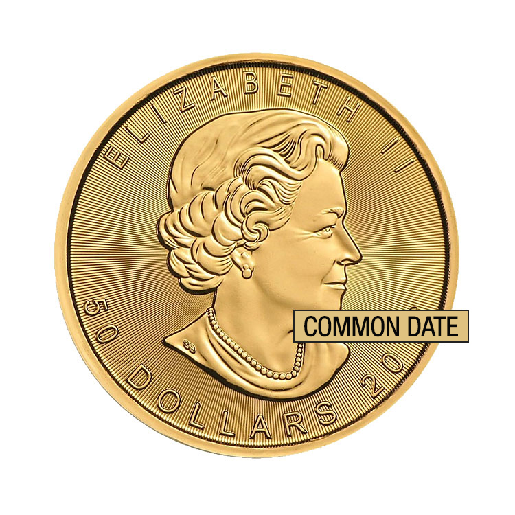 goldsilver.com - 1 oz Canadian Gold Maple Leaf Coin (Common Date) Front