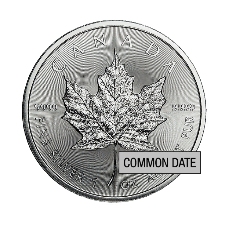 goldsilver.com - 1 oz Canadian Silver Maple Leaf Coin (Common Date) Back