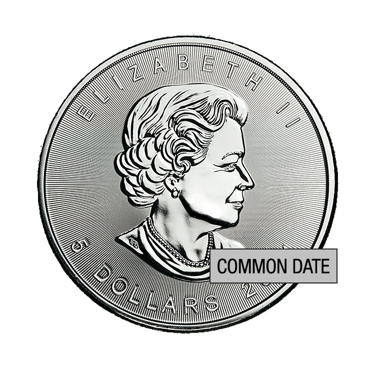 goldsilver.com - 1 oz Canadian Silver Maple Leaf Coin (Common Date) Front