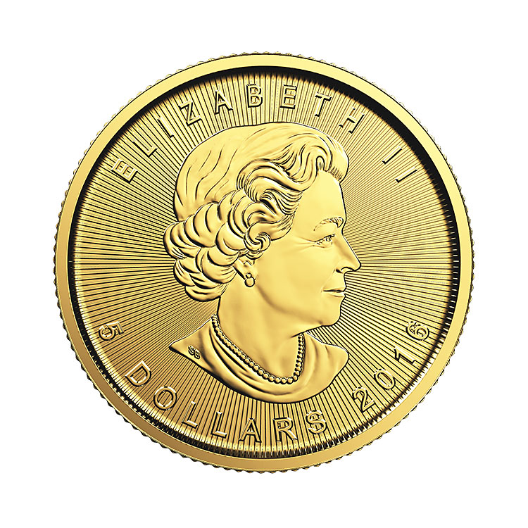 goldsilver.com - 1/10 Oz Canadian Gold Maple Leaf Coin (2016) Front