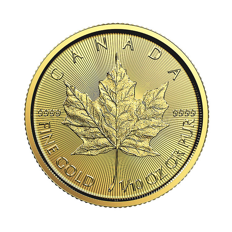 goldsilver.com - 1/10 oz Canadian Gold Maple Leaf Coin (Common Date) Back