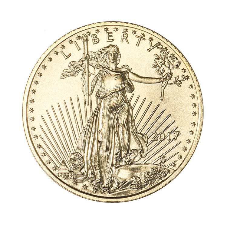 goldsilver.com - 1/10 oz American Gold Eagle Coin (2017) Front