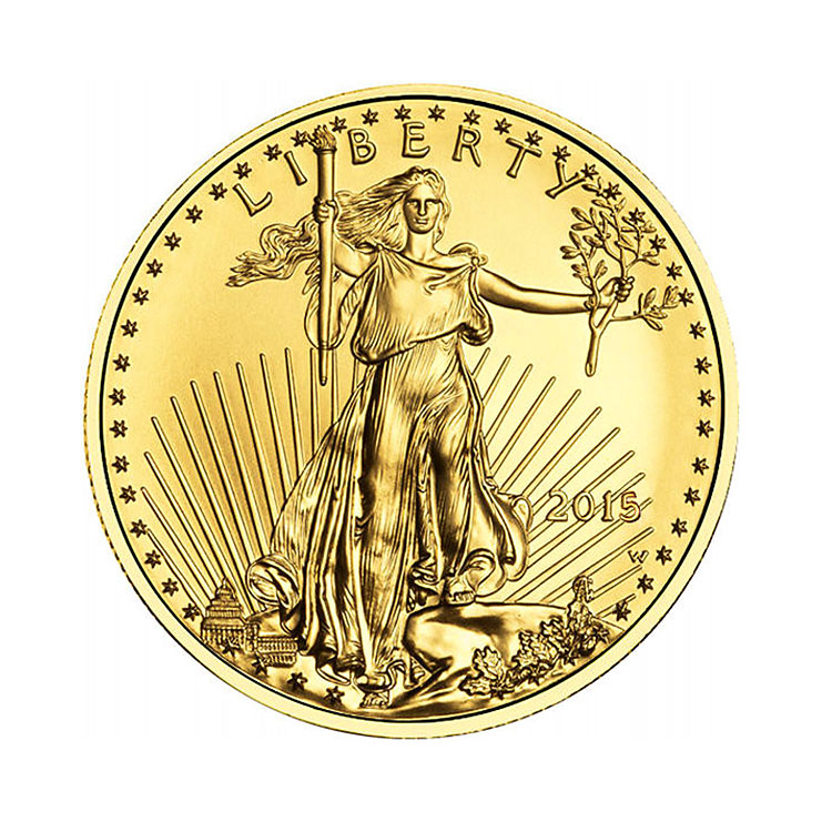 goldsilver.com - 2016 1/10 oz American Gold Eagle Coin Front
