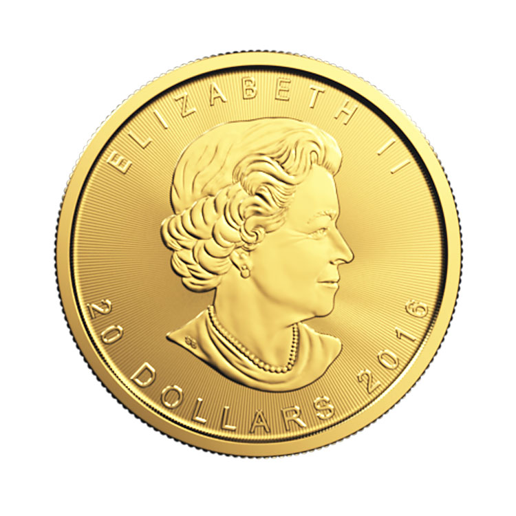 goldsilver.com - 1/2 oz Canadian Gold Maple Leaf Coin (2016) Front