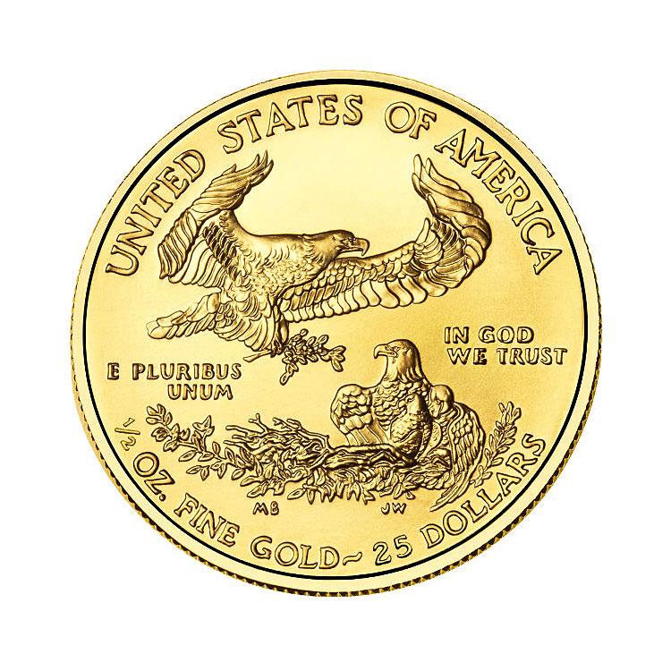 goldsilver.com - 2016 1/2 oz American Gold Eagle Coin Back