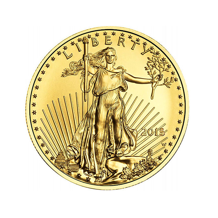 goldsilver.com - 2016 1/2 oz American Gold Eagle Coin Front