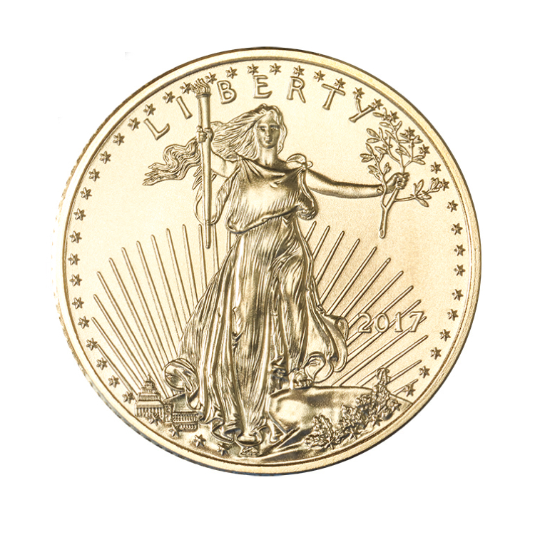 goldsilver.com - 1/4 oz American Gold Eagle Coin (2017) Front