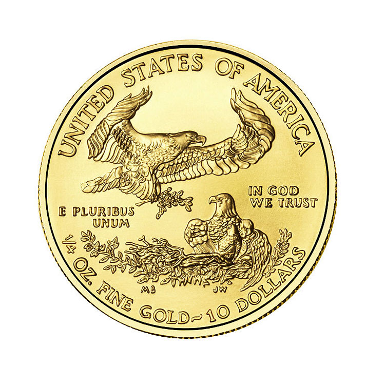 goldsilver.com - 2016 1/4 oz American Gold Eagle Coin Back