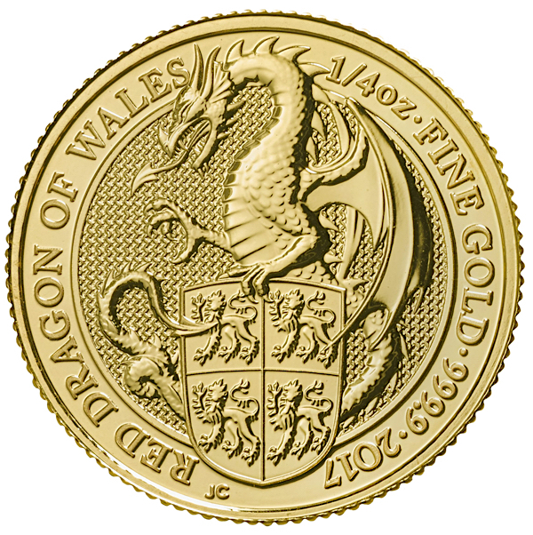1 4 Oz British Queen S Beasts Dragon Gold Coin 2017