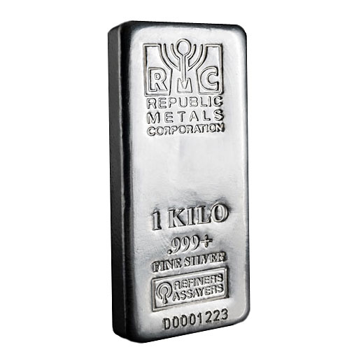 goldsilver.com - 1 Kilo Republic Metals Corporation (RMC) Silver Bar Front
