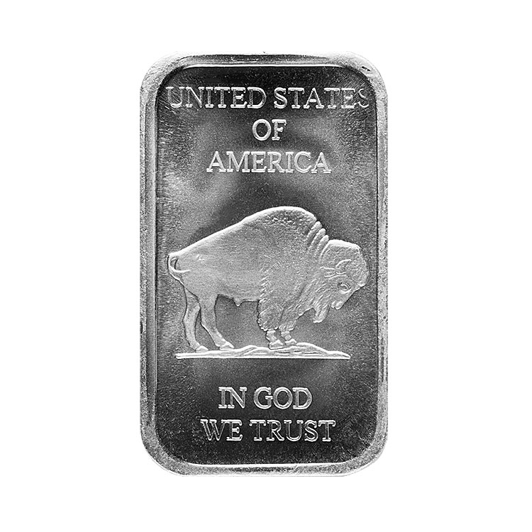 goldsilver.com - 1 oz Buffalo Silver Bar Back