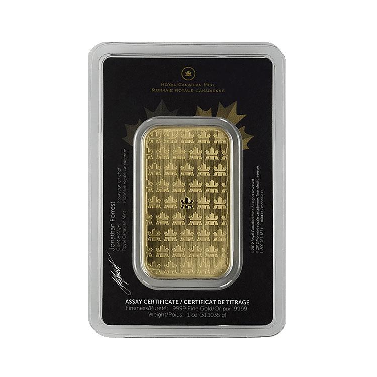goldsilver.com - 1 oz Royal Canadian Mint Gold Bar Back