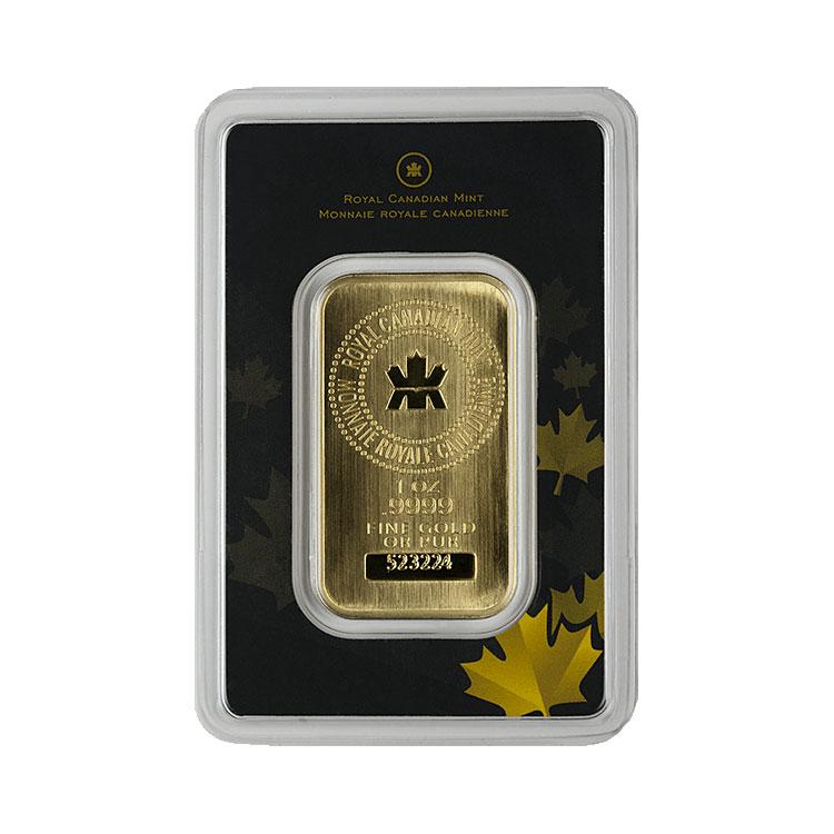 goldsilver.com - 1 oz Royal Canadian Mint Gold Bar Front