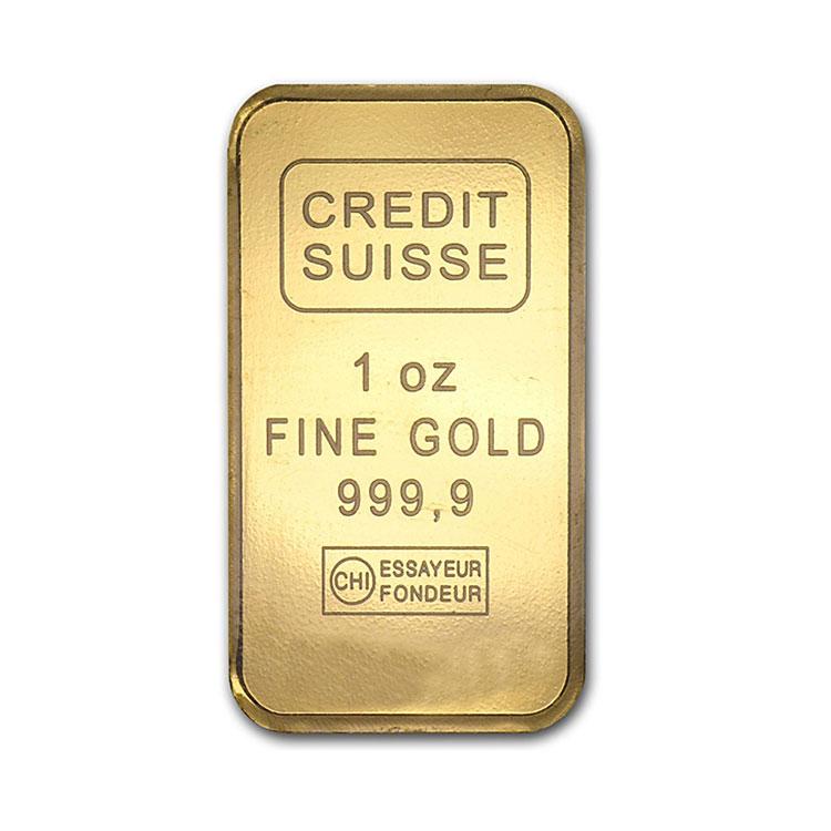 goldsilver.com - 1 oz Credit Suisse Gold Bar Front