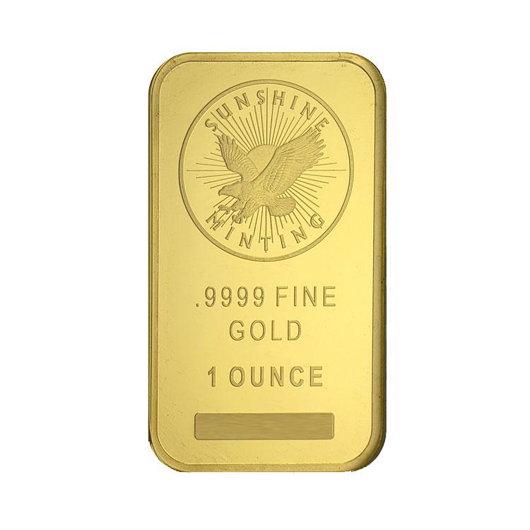 goldsilver.com - 1 oz Sunshine Mint Gold Bar Front