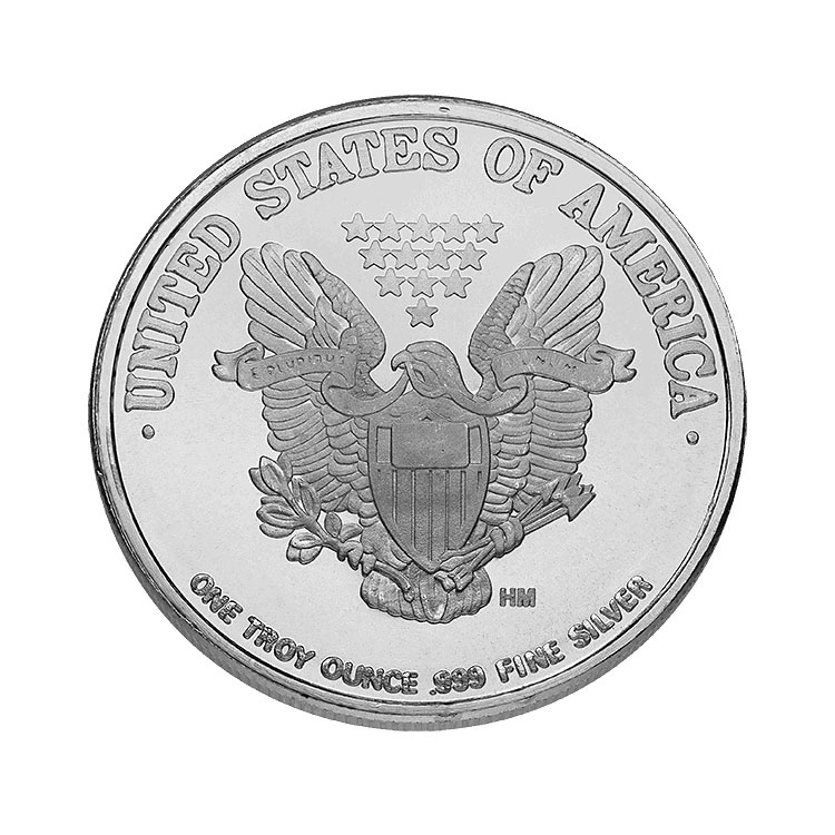goldsilver.com - 1 oz Walking Liberty Silver Round Back