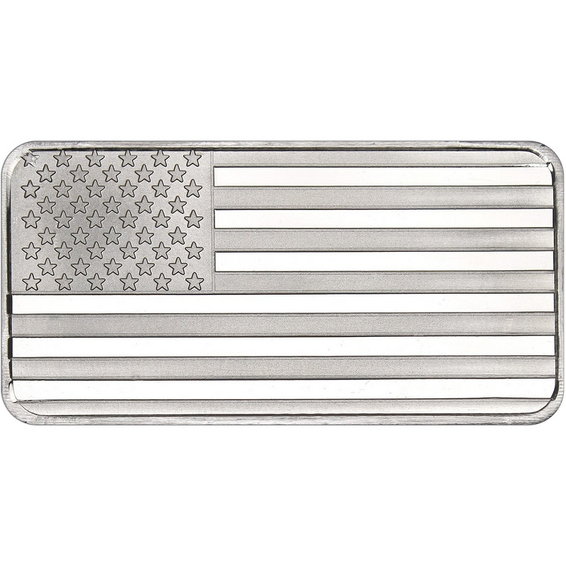 10 Oz American Flag Silver Bar Buy Online At Goldsilver 174