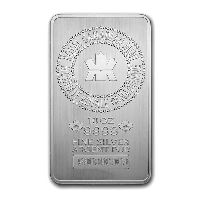 10 Oz Royal Canadian Mint Silver Bar Goldsilver Com