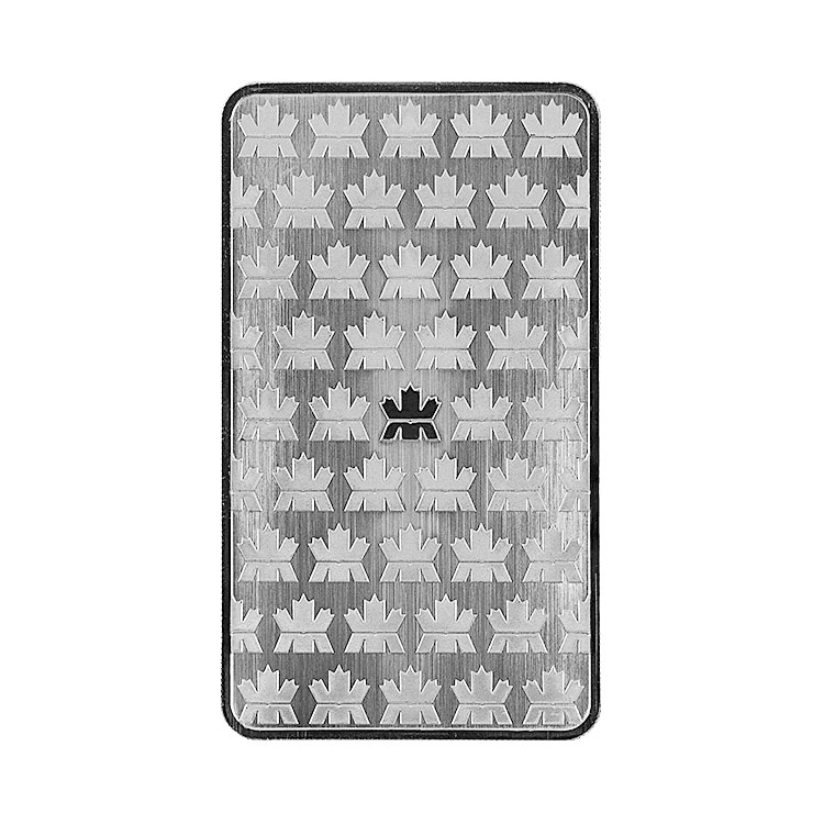 goldsilver.com - 10 oz Royal Canadian Mint Silver Bar Back