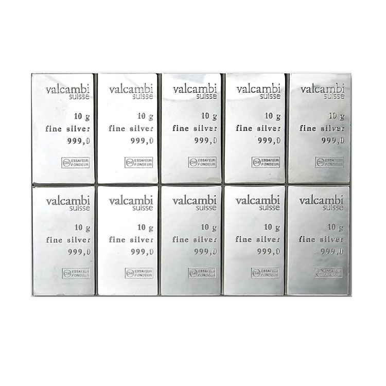 goldsilver.com - Valcambi Silver CombiBar (Valcambi Suisse, 100 grams - 10 x 10) Back