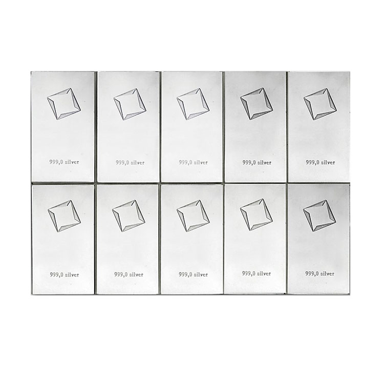 goldsilver.com - Valcambi Silver CombiBar (Valcambi Suisse, 100 grams - 10 x 10) Front