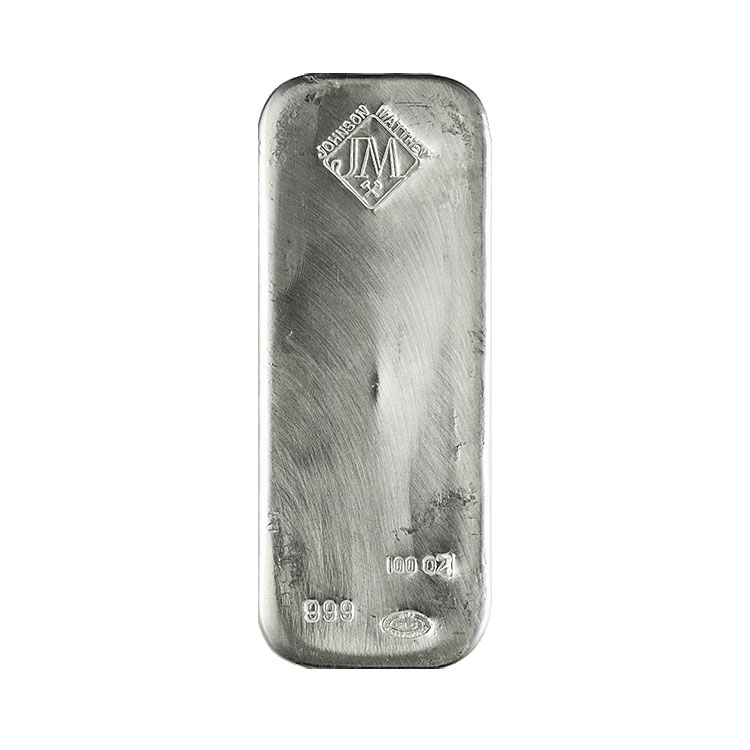 goldsilver.com - 100 oz Johnson Matthey Silver Bar Front