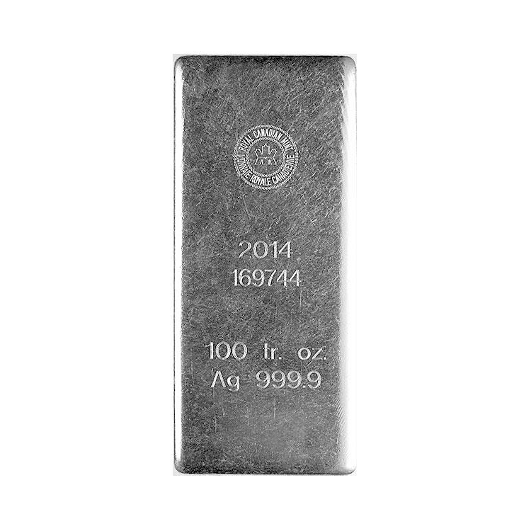 goldsilver.com - Royal Canadian Mint Silver Bar, 100 oz Front