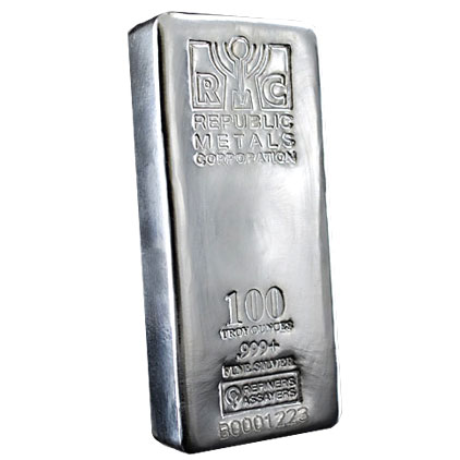 goldsilver.com - Republic Metals Corporation (RMC) Silver Bar, 100 oz Front