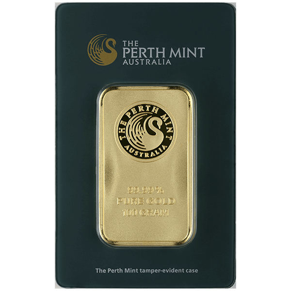 goldsilver.com - 100 gram Perth Mint Gold Bar Front