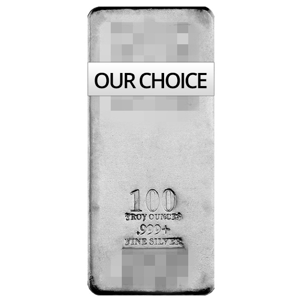 goldsilver.com - 100 oz Silver Bar Front