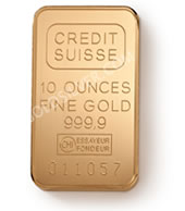 goldsilver.com - Credit Suisse Gold Bar 10 oz Front