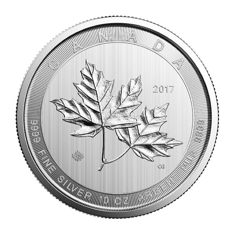 goldsilver.com - 10 oz Canadian Silver Magnificent Maple Leaves Coin (2017) Back