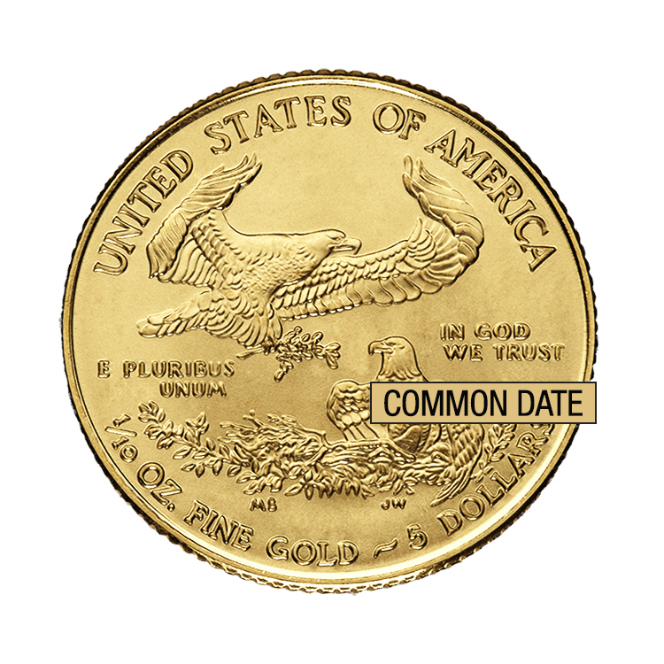 goldsilver.com - 1/10 oz American Gold Eagle Coin (Common Date) Back