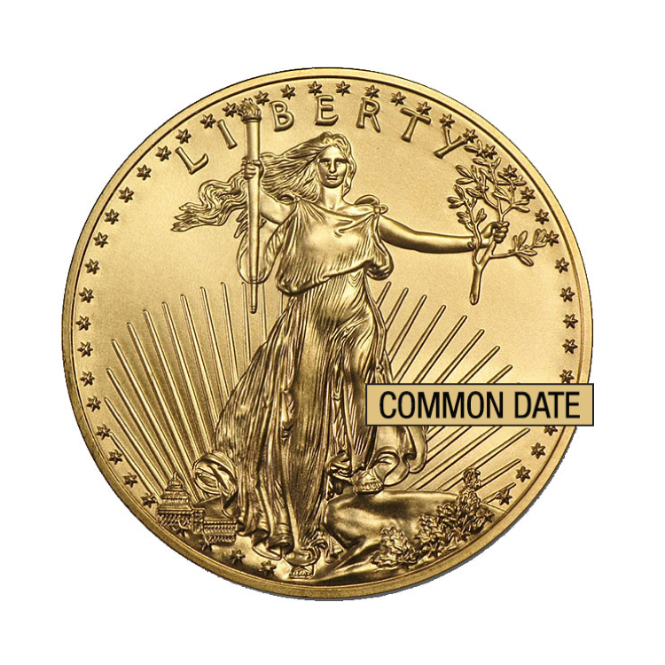 goldsilver.com - 1/10 oz American Gold Eagle Coin (Common Date) Front
