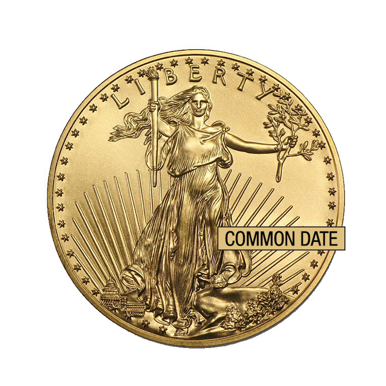 goldsilver.com - 1/2 oz American Eagle Gold Coin (Common Date) Front