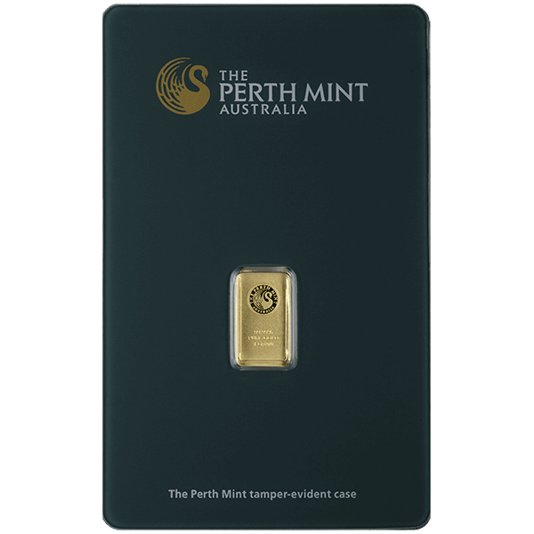 goldsilver.com - 1 gram Perth Mint Gold Bar Front