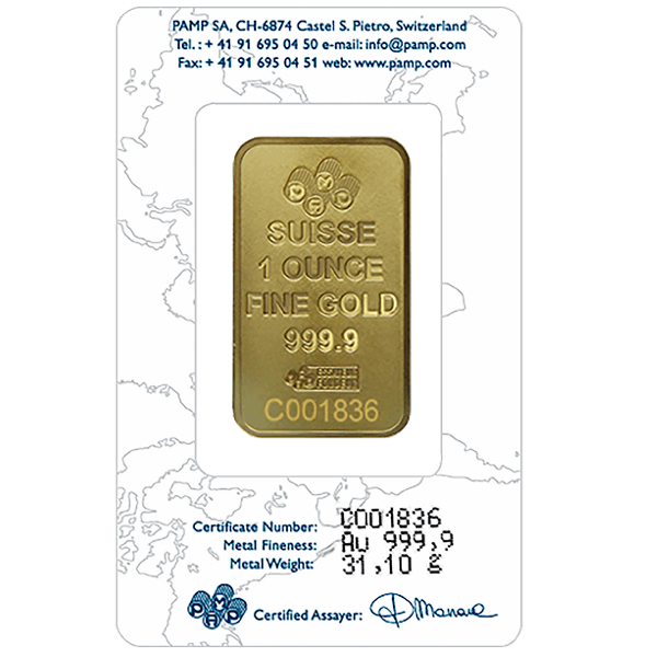 goldsilver.com - 1 oz PAMP Suisse Gold Bar Back