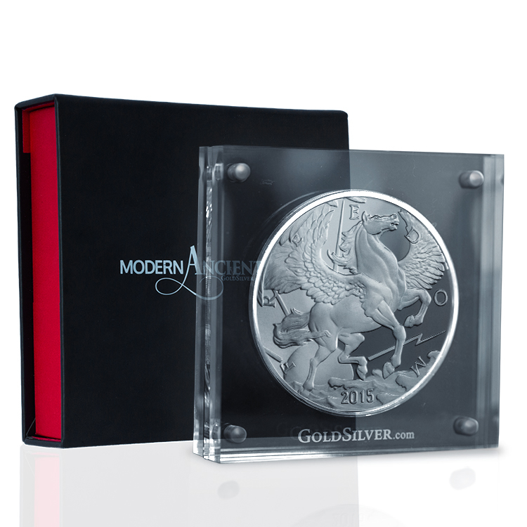 2015 10 Oz Silver Pegasus With Acrylic Case For Sale At