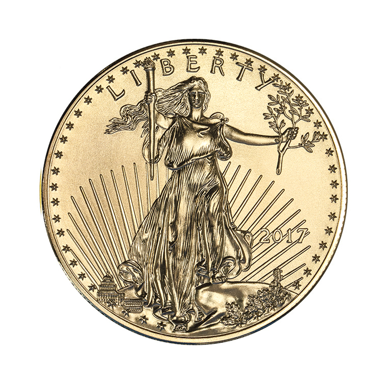 goldsilver.com - 1/2 oz American Gold Eagle Coin (2017) Front