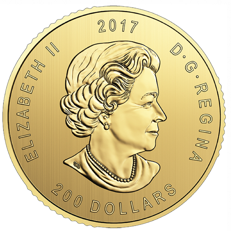 goldsilver.com - 1 oz Canadian Gold Elk Coin with Assay (2017) Front