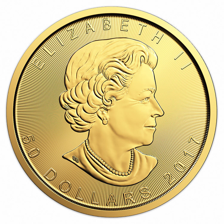 goldsilver.com - 1 oz Canadian Gold Maple Leaf Coin (2017) Front