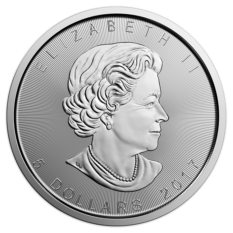 goldsilver.com - 1 oz Canadian Silver Maple Leaf Coin (2017) Front