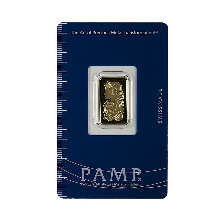 goldsilver.com - 5 g PAMP Suisse Gold Bar (Lady Fortuna) Front